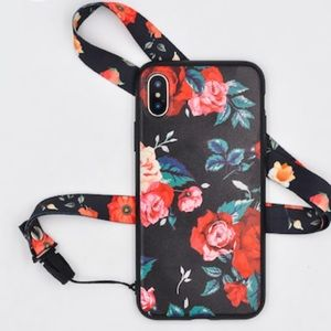 Accessories - Vintage Rose Flower Print iPhone Case With Lanyard